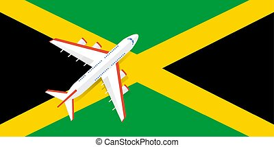 Vector Illustration of a passenger plane flying over the flag of Jamaica.