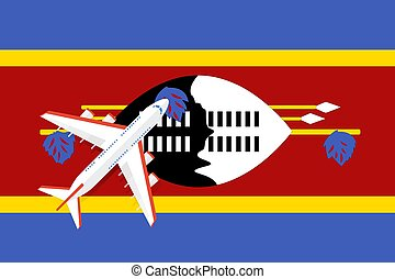 Vector Illustration of a passenger plane flying over the flag of Swaziland.
