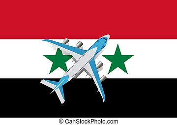 Vector Illustration of a passenger plane flying over the flag of Syria.