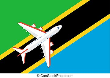 Vector Illustration of a passenger plane flying over the flag of Tanzania.