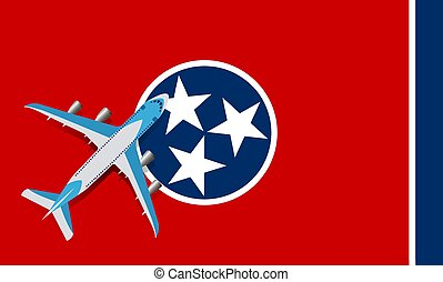Vector Illustration of a passenger plane flying over the flag of Tennessee.