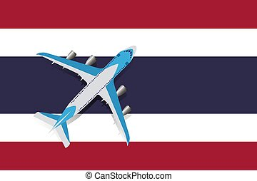 Vector Illustration of a passenger plane flying over the flag of Thailand.