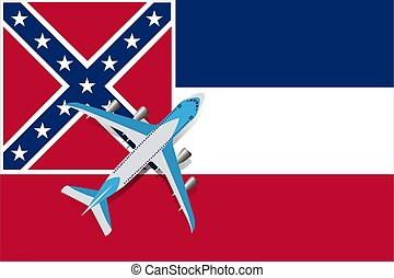 Vector Illustration of a passenger plane flying over the Mississippi flag.
