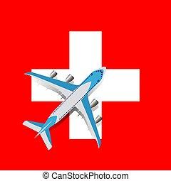Vector Illustration of a passenger plane flying over the Swiss flag.
