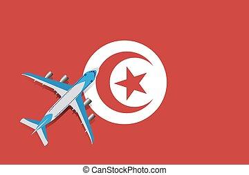 Vector Illustration of a passenger plane flying over the Tunisian flag.