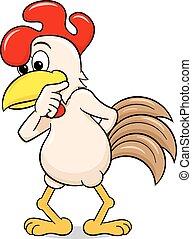 perplexed cartoon chicken - vector illustration of a ...