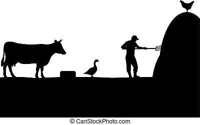 Vector illustration of a pet, farmer, cattleman. Isolated...