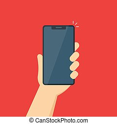 vector illustration of a phone in a man's hand.