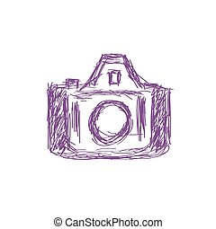 Vector illustration of a photo camera doodle icon