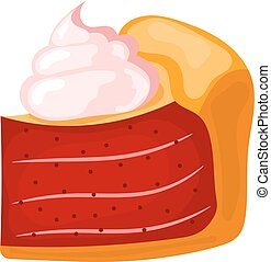 Vector illustration of a piece of cake with cream on a white background. Cartoon cake with