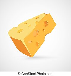 Vector illustration of a piece of cheese. Isolated on white back