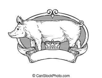 Vector illustration of a pig is made in the style of...