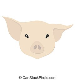 Vector illustration of a pig's head in flat style.