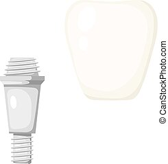 Vector illustration of a pin tooth. Cartoon style prosthetic tooth on a white background.