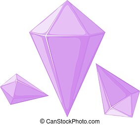 Vector illustration of a pink crystal on a white background. Cartoon style crystal. Purple