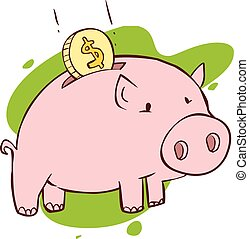 Vector illustration of a  pink Piggy Bank
