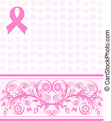 vector illustration of a  pink ribbon breast cancer support background