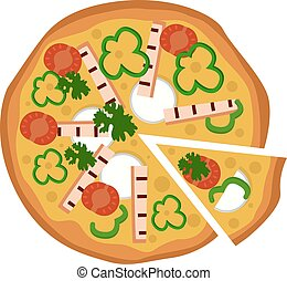 Vector illustration of a pizza with one slice cut on a white background