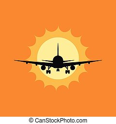 Vector illustration of a plane to takeoff or landing at sunset