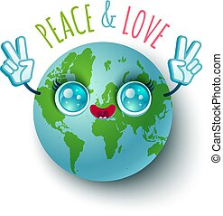 Peace and Love. - Vector illustration of a planet Earth in...