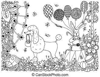 Vector illustration of a poodle and a rabbit on the circus arena. Doodle flower performance. Coloring book anti stress for adults. Black white.