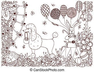Vector illustration of a poodle and a rabbit on the circus arena. Doodle flower performance. Coloring book anti stress for adults. Brown  and white.