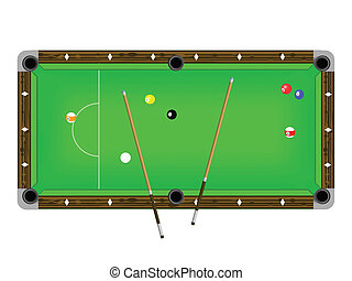 Vector Illustration of a pool table with cues and pool balls