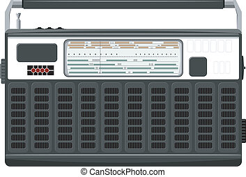 Vector illustration of a portable radio in a black casing. ...
