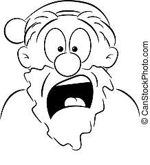 portrait of a shocked Santa Claus