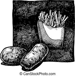 Vector  illustration of a potato and french fries
