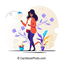 Vector illustration of a pregnant woman