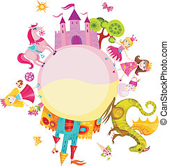 vector illustration of a princess set