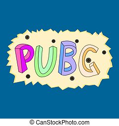 Vector illustration of a pubg text on a blue background in a bullet-shot plate.