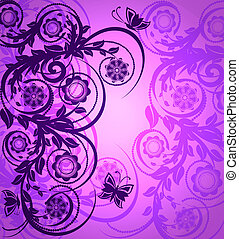 vector illustration of a purple floral ornament with butterfly