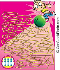 puzzle with a cartoon boy playing bowling