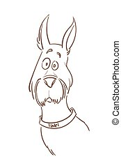 Vector illustration of a puzzled dog. - Vector hand drawn...