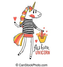 Vector illustration of a Rainbow Unicorn in fashionable clothes. Fashion kawaii animal. Can be used for t-shirt print, kids wear design, baby shower card