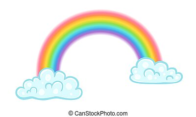 Vector illustration of a rainbow with clouds in kawaii style.
