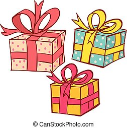 Vector illustration of a  rcolored gift packages