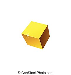 Vector illustration of a realistic 3D cube isolated on a white background.