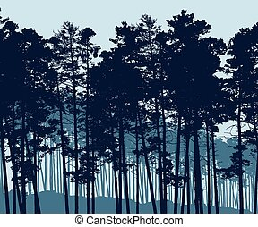 Vector illustration of a realistic coniferous forest