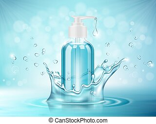 Vector illustration of a realistic cosmetic glass bottle on a blue background with water splash
