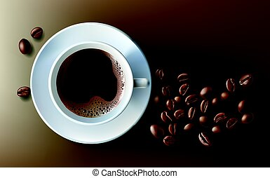 Vector illustration of a realistic style of white coffee cup with a saucer and coffee beans, top view, isolated on brown