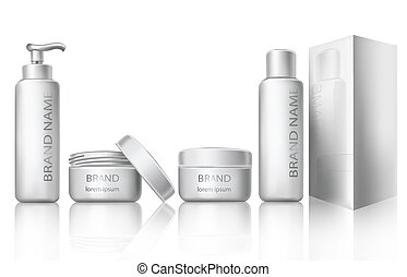 Vector illustration of a realistic style of white plastic cosmetic containers with closed and open caps