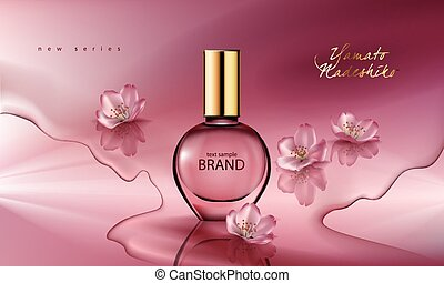 Vector illustration of a realistic style perfume in a glass bottle on a pink background with sakura flowers