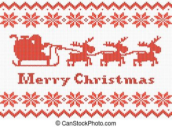 red and white Christmas knit greeting card - vector ...