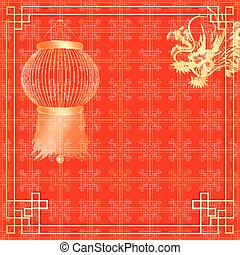red background with chinese lanterns and dragon