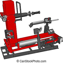 Vector illustration of a red bore lathe white background