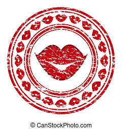 Vector illustration of a red grunge rubber stamp with lips...