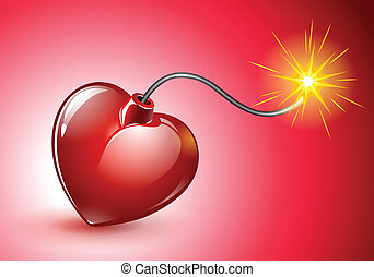 Vector illustration of a red heart shaped Love Bomb